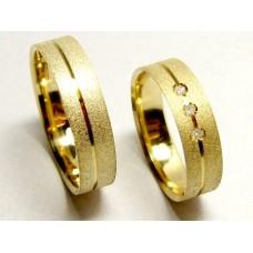 AL06GCC3D Par Alianças Ouro 18k Retas Canal Tres Diamantes  6 gramas