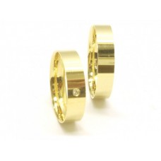 AL05GRD Par Aliança em Ouro Retas 1 dimanates 5 gramas