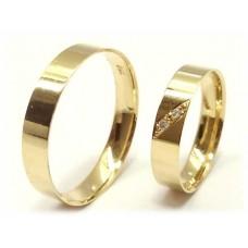 AL05GRCDA Par Aliança Ouro 18k Cravação Diagonal 2 Diamantes 5 gramas