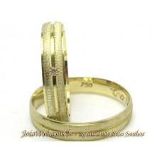 AL05GCCH Par Alianças em Ouro 18k Canal Chanfrada Diamantes 5 gramas