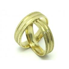AL06GCCC Par de Alianças em Ouro 18k Classicas Canais Acetinadas Diamantes 6 gramas