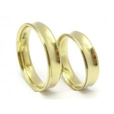 AL05GCO Par Alianças em Ouro 18k Modelo Concavas  5 gramas