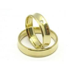 AL05GCOD Par Alianças Ouro 18k Concavas com Diamantes 5 gramas
