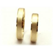 AL05GCHC Par Alianças Ouro 18k Bordas Chanfradas  Cintilante 5 gramas