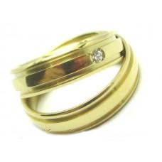 AL10GCRD Par Aliança Ouro Relevo com 1 diamante 10 gramas